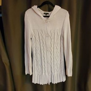 BCBGMAXAZRIA Cable Knit Hooded Button Down Sweater